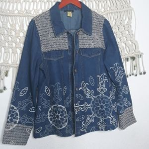 Vintage mixed media denim tweed mandala jacket